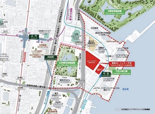 東京ポートシティ竹芝の位置・竹芝地区エリアマネジメントの対象範囲