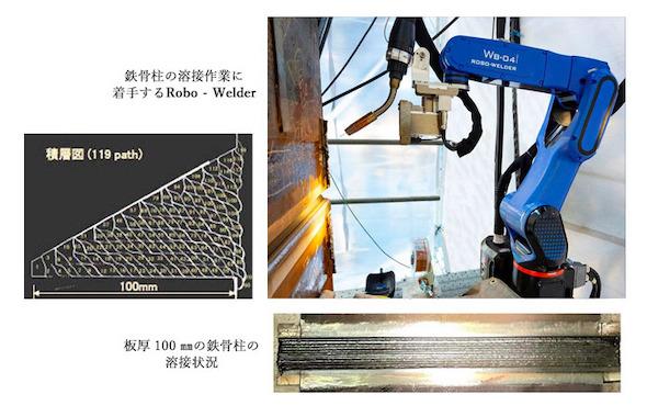 鉄骨柱の溶接作業に着手するRobo-Carrier