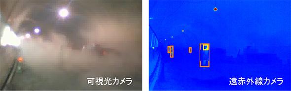 薄暗い粉じん環境下での可視光カメラ(左)と遠赤外線カメラ(右)の検出結果比較