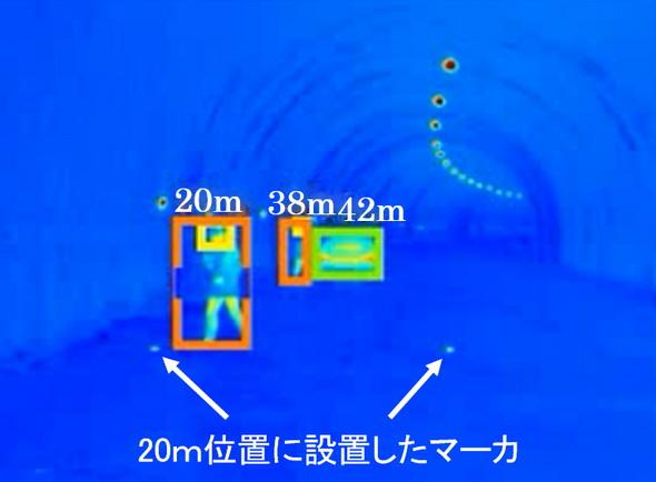 距離20m位置での検出結果