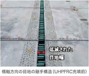 橋軸方向の目地の継手構造(UHPFRC充填前)