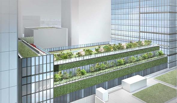 旧芝離宮恩賜庭園と立体的なつながりを意識した屋上緑化
