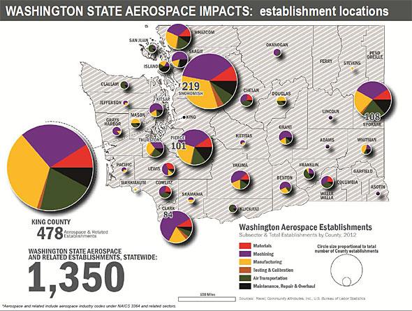 航空宇宙産業が盛んなワシントン州(出典:米労働省労働統計局ほか)