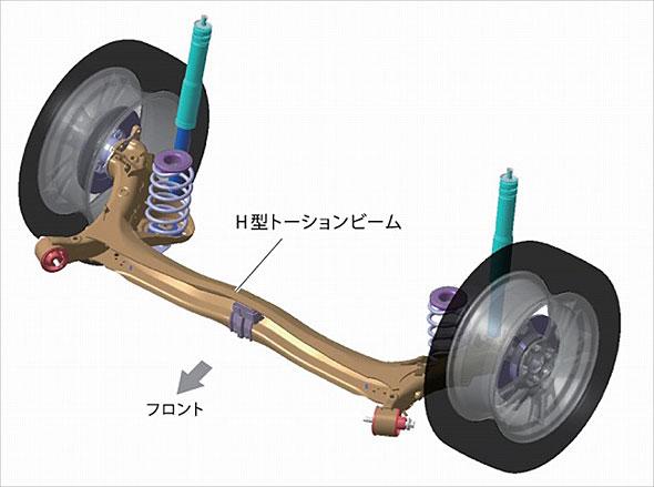 左右一対のトレーリングアームを真ん中でつないだH型の構造を持つサスペンション。左右をつなぐビームがねじれる構造になっている。スペース効率に優れ、比較的破綻しにくいため安全性も高いが、能力は限定的