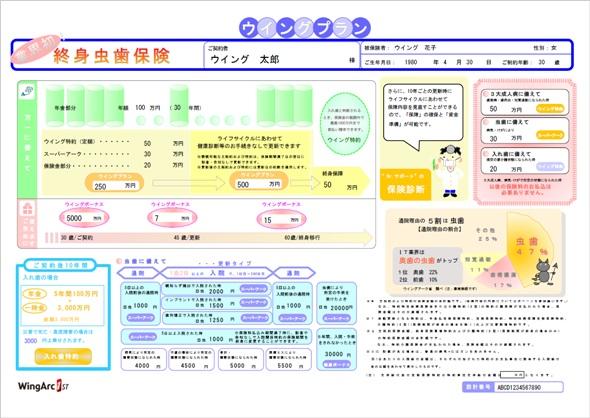 「SVF Web Designer」で設計した帳票サンプル(保険設計書)