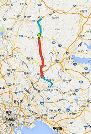 関東鉄道の位置。復旧区間は水色、被災区間は赤、緑のマークは下妻駅の位置。Googleマップより筆者作成