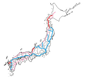 全国新幹線計画。青は開業済み、赤は建設中、ピンクは全国新幹線鉄道整備法に基づく計画路線