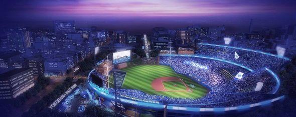横浜DeNAベイスターズのボールパーク構想が打ち出した横浜スタジアムの未来絵図。ライトスタンドがないなど斬新だ