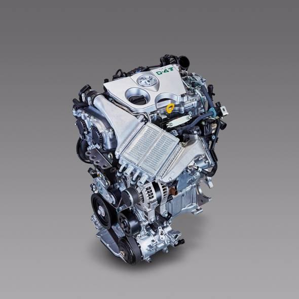 オーリスに搭載されたトヨタの小排気量ターボエンジン。シリンダーに抱き抱えられるように直近にマウントされたターボユニットとそこから吸気管までの最短距離を結ぶ冷却用クーラーが特徴的