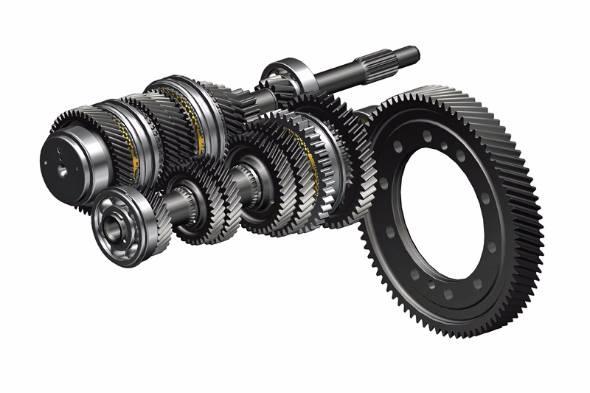 トランスミッションは多くのギヤの組み合わせでできている。一枚一枚のギヤを小型軽量化できればその恩恵は大きい。写真はマツダ・デミオのMTギヤアッセンブリー