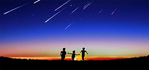 流れ星に向かう子供たち