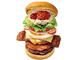 パティ4種にソースも6味 ロッテリア、全具材を使った「全部のせバーガー」を販売