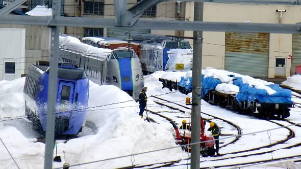 285系気動車試作編成(中央、JR北海道苗穂工場敷地外から撮影)