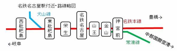 名鉄名古屋駅付近の路線図