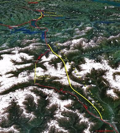 世界最長のゴッタルド基底トンネルと旧ルートの比較。「基底」は「山の底」という意味。旧ルートはトンネルが短く、なるべく勾配で山岳を超えようとしていた。この図のループ区間のいくつかは3層ループになっている(出典:Wikipedia)