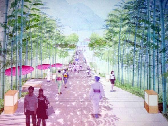 「長門湯本温泉観光まちづくり計画」の完成イメージ図の1つ。車道と歩道を分離して子どもでも安全に歩けるようにする