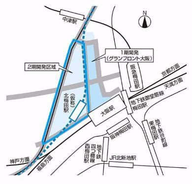 東海道線支線地下化・新駅設置計画。青い点線が移設地下化区間(出典:JR西日本)