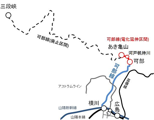 可部線の廃止区間が一部復活する。青が現在の可部線、黒が廃止区間(可部〜三段峡)、赤が電化延伸(復活区間)