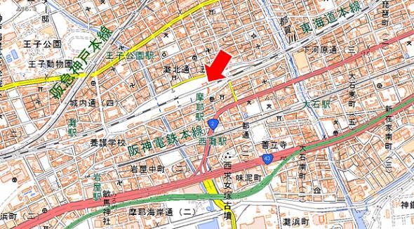 摩耶駅の位置(この地図は国土地理院発行の地理院地図<電子国土Web>を使用したものである)