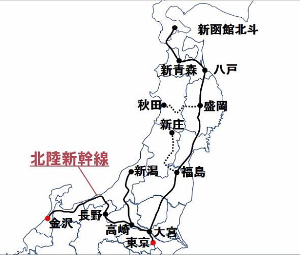 JR東日本の新幹線路線マップ