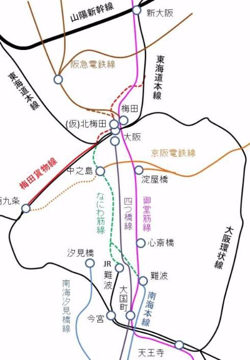 なにわ筋線と阪急電鉄・京阪電鉄の位置関係