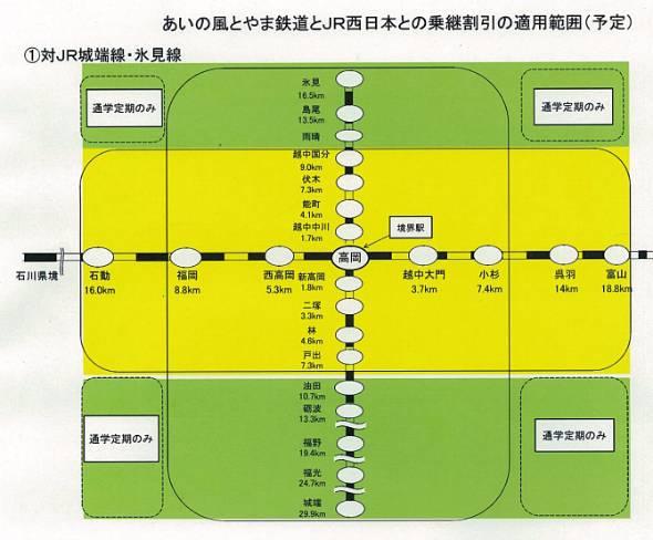 高岡駅付近の「あいの風とやま鉄道」とJR西日本の乗継割引範囲。黄色はJR西日本と「あいの風とやま鉄道」がそれぞれの区間の運賃から割り引く。緑色は「あいの風とやま鉄道」区間だけが割り引きになる