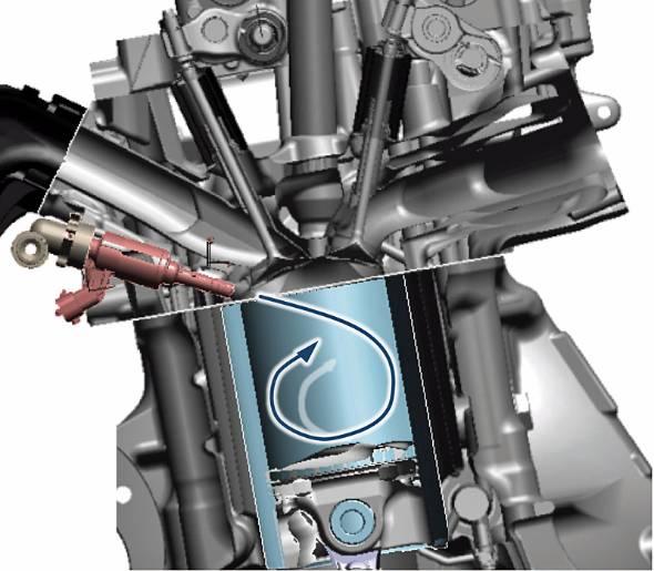 ホンダ・シビックType-Rの燃焼室回り。赤系の色で描かれるインジェクターが燃焼室に直接燃料を噴射し、強いタンブル(縦渦)で燃料と空気をできる限り均等に混ぜる