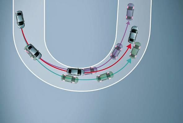 限界時の挙動を大幅に改善した立役者である電制デフ。スバルではDCCD(ドライバーズコントロールセンターデフ)と呼ぶ。自動モードの切り替えで3つのラインを選ぶことができる