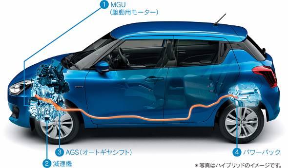 バッテリーは100Vに高電圧化されてリヤシート下に移動された。前後重量バランス的にも有意義なレイアウトだ