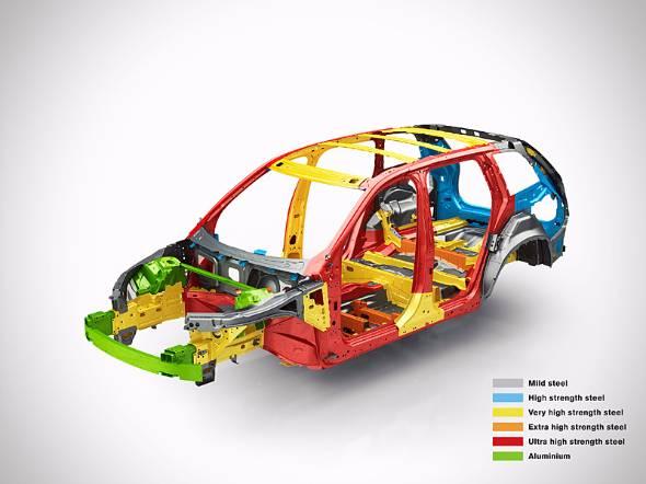 ボルボXC90の骨格。構造的特徴は5種の硬度の違う鋼板とアルミを用いることで、衝突時に潰して衝撃を吸収する場所をコントロールしながら生存空間を確保している