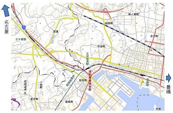 三河塩津駅の位置(国土地理院地図を加工)