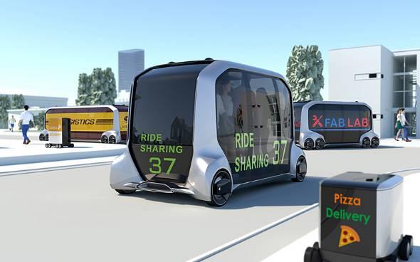 「e-Palette Concept」は自走可能な箱。箱の物理サイズに入るものであれば、バスやトラックなどの人と物流、レストランや小売店、ホテルなどのサービスを組み込むことができる