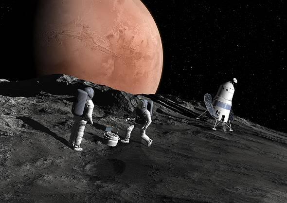 火星衛星を中心とした科学探査のイメージ図。今後ますます宇宙資源探査が注目されるだろう(資料提供:JAXA)