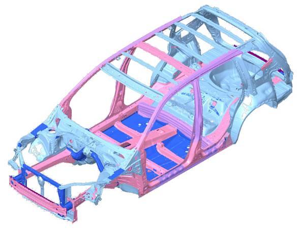 高張力鋼板を多用したSUBARU Grobal Platform(SGP)と名付けられた新世代シャシーによって高剛性を確保した