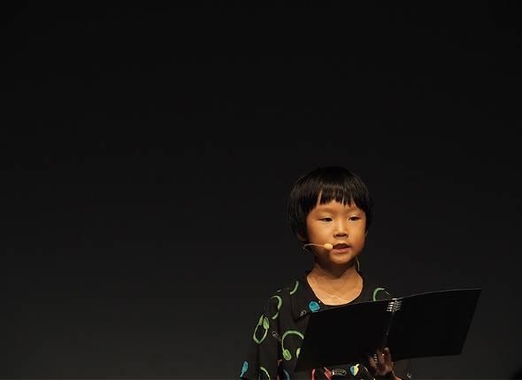 シューティングゲーム「宇宙突戦争」を開発した長谷部環さん(9歳、小3)