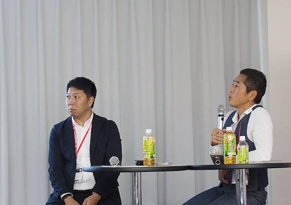サツドラHDの富山浩樹社長(左)と、うるるの星知也社長