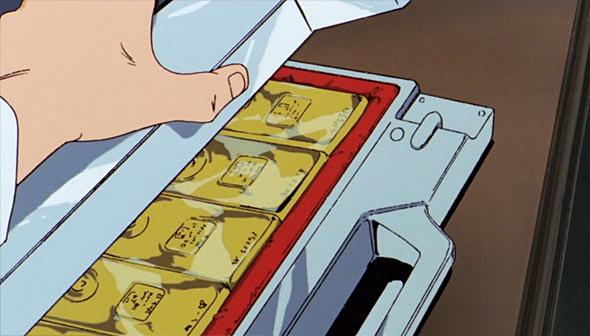 アクシズ購入代金と賄賂として金塊がネオ・ジオンから連邦政府高官に渡された=映画『機動戦士ガンダム 逆襲のシャア』より