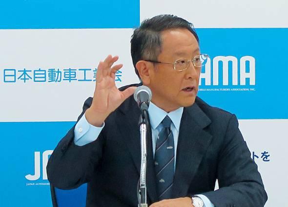 自動車関連税の問題を訴える一般社団法人日本自動車工業会(自工会)の豊田章男会長