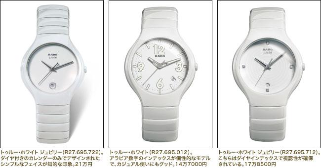 (左) トゥルー・ホワイト ジュビリー(R27.695.722)(中)トゥルー・ホワイト(R27.695.012) (右)トゥルー・ホワイト ジュビリー(R27.695.712)