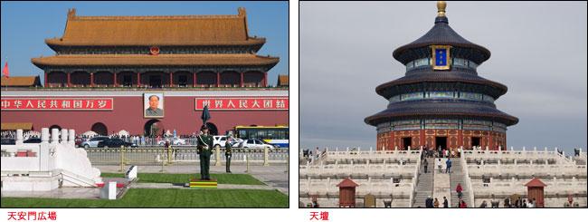 (左)天安門広場、(右)天壇