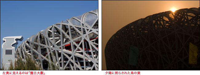 (左)左奥に見えるのは「盤古大觀」、(右)夕陽に照らされた鳥の巣