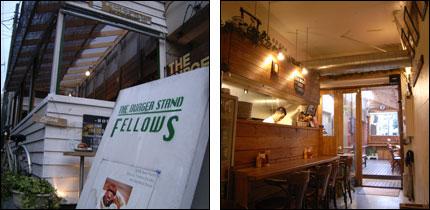 (左)「THE BURGER STAND - FELLOWS -」外観 (右)「THE BURGER STAND - FELLOWS -」店内