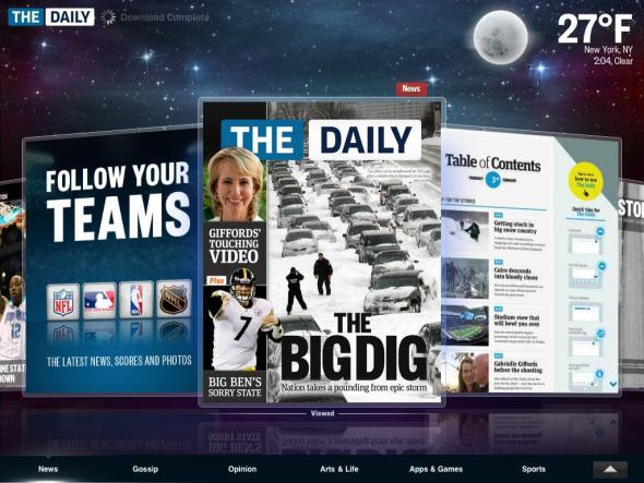 The Dailyのトップ画面