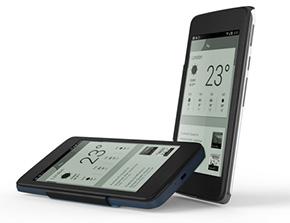 Alcatel One Touch Heroに取り付けられた電子ペーパーカバー