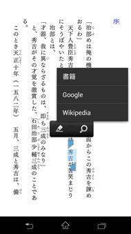 検索は書籍内・Google・Wikipediaで、辞書機能はない
