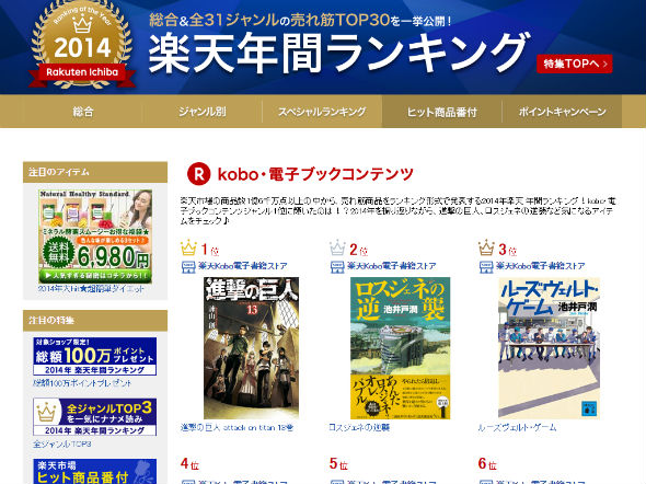 楽天Kobo電子書籍ストア 2014年 年間ランキング