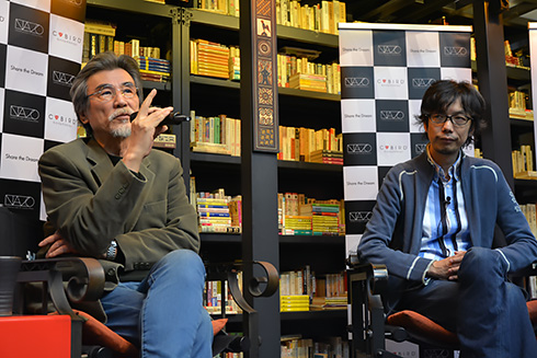 松岡正剛氏(左)とイシイジロウ氏(右)