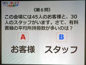 クイズの答えは「A」で、なんと平均2105冊