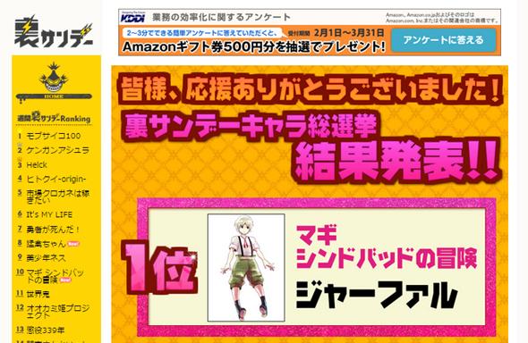 第一回キャラクター総選挙の結果発表