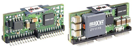 """図1 Power-One社のデジタル電源マネジメント・アーキテクチャ「Z-OneDigitalIBA」のDC-DCコンバータ「Z-7000」(左)と「Z-1000」(右)。Z-1000は""""No-Bus""""コンバータ。共に入力電圧は3V〜13.2Vで出力電圧は0.5V〜5.5V、出力電流は20A。"""